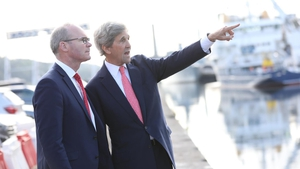 Simon Coveney (L) and John Kerry are at an Ocean Wealth Summit in Cork