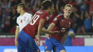 Patrik Schick celebrate scoring with with his teammate midfielder Jakub Jankto