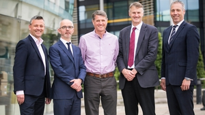 Kernel Capital's Allen Martin, Stuart Harvey, Datactics CEO; Mick Foster, Datactics COO; William McCulla, Director Corporate Finance, Invest NI & Gavin Kennedy, Head of Business Banking NI, Bank of Ireland UK.