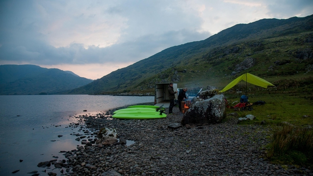 Preparing for some night SUP at Cloon Lough (Tadhg Hayes/PA)