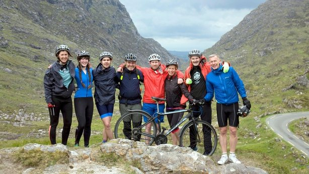 The team near the top of Moll's Gap (Tadhg Hayes/PA)