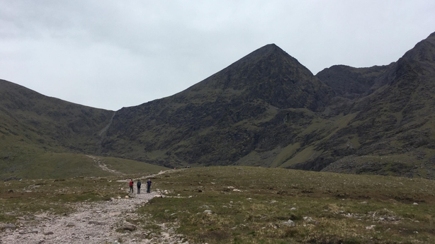Devil's Ladder, seen to the left of the summit here, is a rocky gully that forms one of the routes up Carrauntoohil (Abi Jackson/PA)