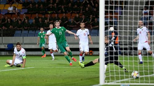 Northern Ireland's Paddy McNair scores