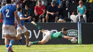 Rob Russell scores Ireland's fourth try