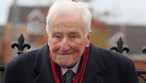 Billy McKee pictured at the funeral of Fr Alec Reid in November 2013