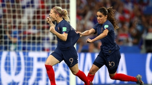Le Sommer celebrates as she puts France 2-1 in front