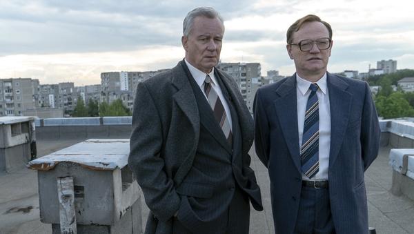 Stellan Skarsgård and Jared Harris in HBO's Chernobyl