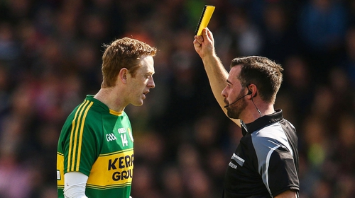 Referee David Gough shows the Gooch a yellow card in 2016