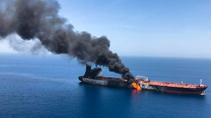 Norwegian-owned tanker Front Altair on fire in the Gulf of Oman