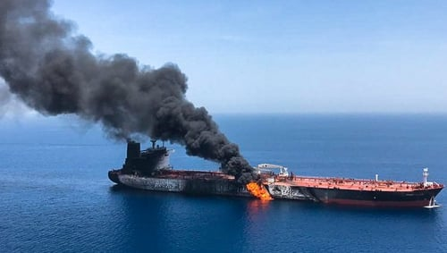 Two oil tankers in the Gulf of Oman were attacked yesterday