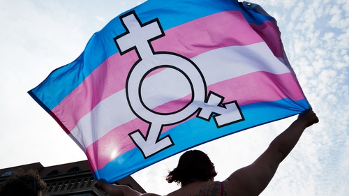 A person holds a trans and gender diverse flag during Pride festivities