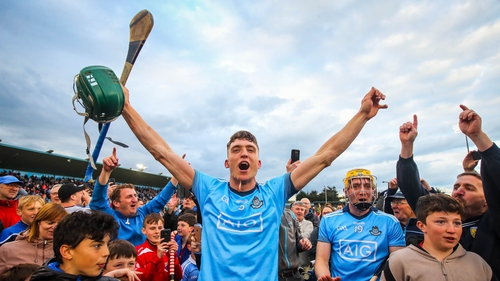 Dublin's Chris Crummey celebrates after the final whistle