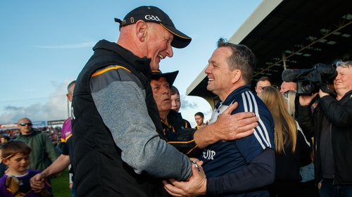 Brian Cody and Davy Fitzgerald meet after the final whistle in Wexford Park