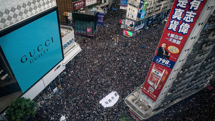 Image result for 'Sea of black' Hong Kong protesters demand leader step down