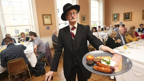 Enjoying breakfast at the James Joyce Centre on Bloomsday 2019