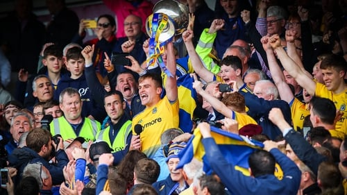 The Roscommon captain hoists the Nestor Cup