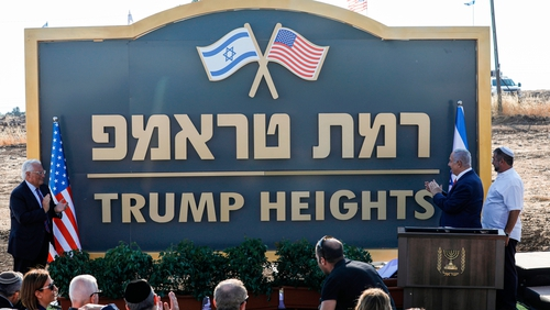 Benjamin Netanyahu unveiled the sign after the new community was approved in principle