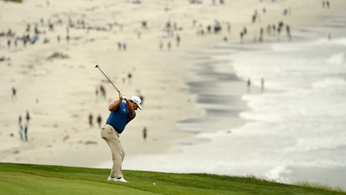 Graeme McDowell in action during the final round of the US Open at Pebble Beach