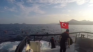31 people were rescued after the boat went down on the stretch of water between Kos and Bodrum
