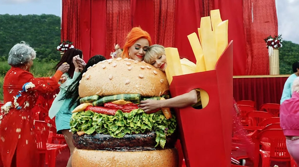 Katy Perry and Taylor Swift in the video for You Need to Calm Down