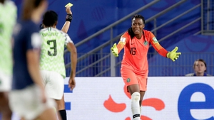 Chiamaka Nnadozie reacts after the penalty decision awarded to France