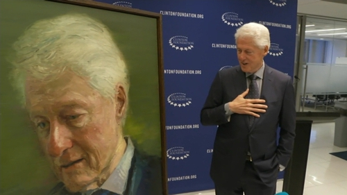 Bill Clinton was speaking at an unveiling of a portrait of him in New York