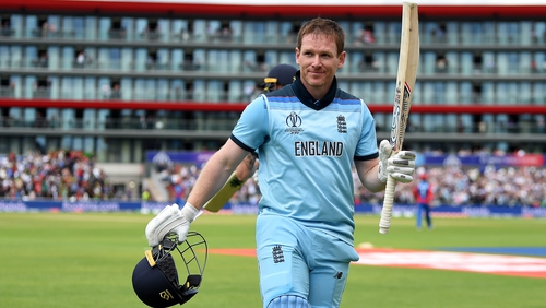 Eoin Morgan makes his way off following an outstanding innings