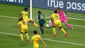 Sam Kerr drills home her third goal