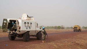 MINUSMA soldiers patrol the road between Mopti and Djenne in central Mali