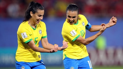Marta (R) became the all-time record goalscorer at a World Cup with 17 goals