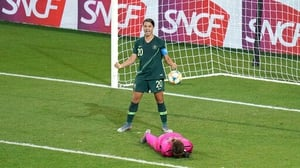 Australia's Sam Kerr celebrates her side's fourth goal