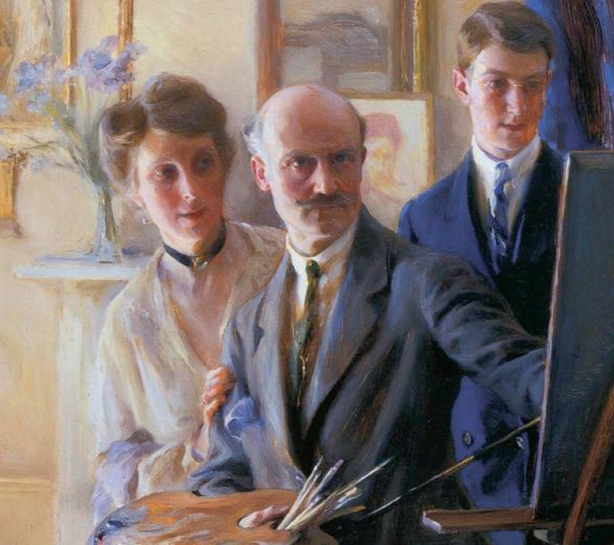 'The Artist at Work' by Philip de László, 1918. It shows the painter himself (centre), Lucy de László (née Guinness) and their son Henry Photo: 'Painting a Portrait by de László' [1934]