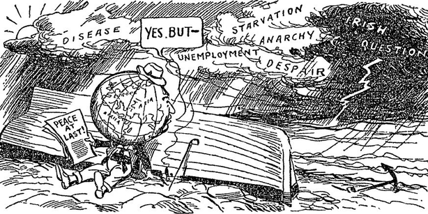 Cartoon on some of the problems surrounding the Treaty of Versailles, including the unresolved 'Irish question' Photo: Sunday Independent, 7 June 1919