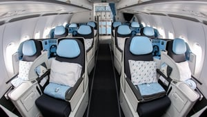 The business class cabin of an Airbus A321neo airliner on display at the 2019 International Paris Air Show