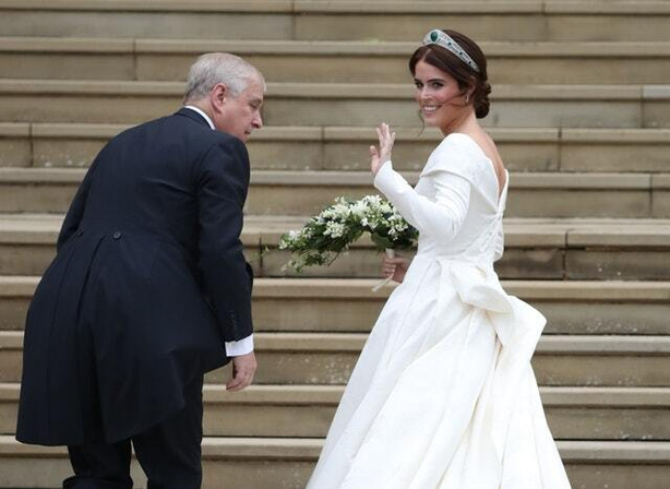 Princess Eugenie arrives with her father, the Duke of York, for her wedding to Jack Brooksbank at St George's Chapel in Windsor Castle (Steve Parsons/PA)