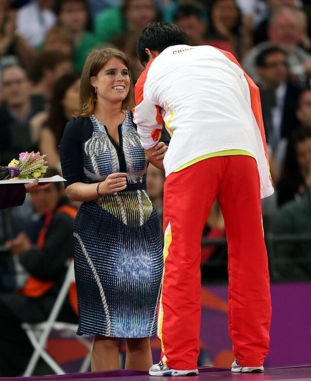Princess Eugenie wearing Peter Pilotto at the 2012 Paralympic Games in London (David Davies/PA)