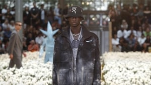 A model wears a creation for the Off White men's Spring-Summer 2020 fashion collection.