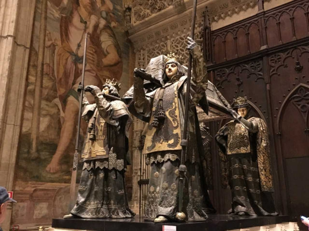 The tomb of Christopher Columbus in Seville Cathedral (Laura Paterson/PA)