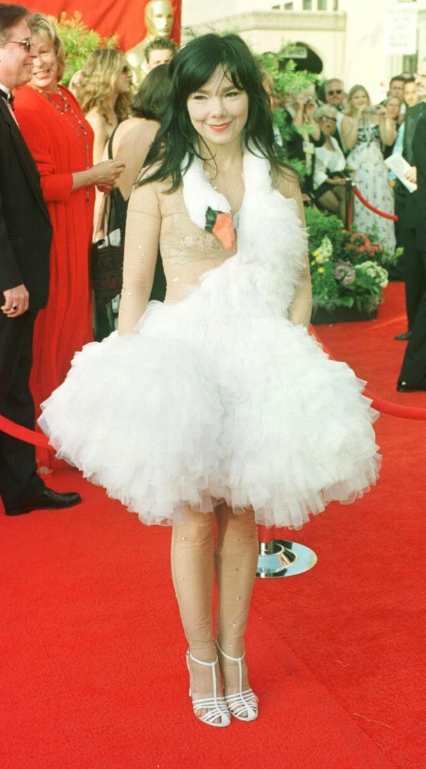 Bjork wears a swan dress from Marjan Pejoski (William Conran/PA)