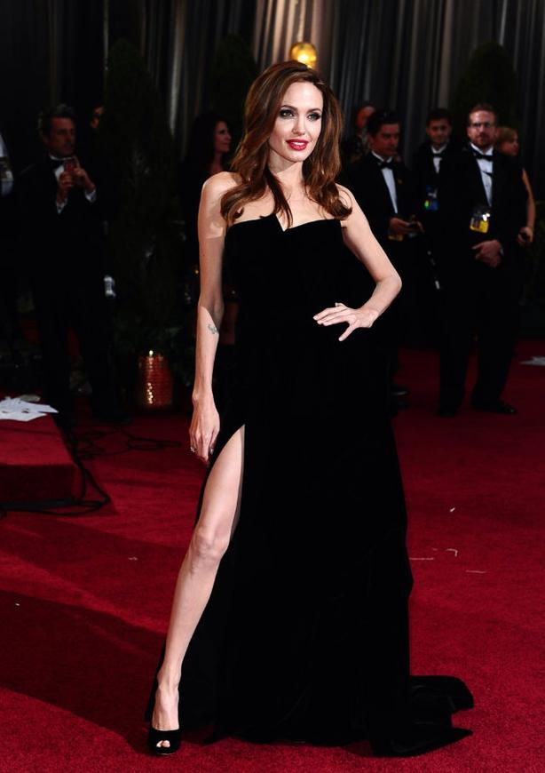 Angelina Jolie's daring Versace dress (Ian West/PA)