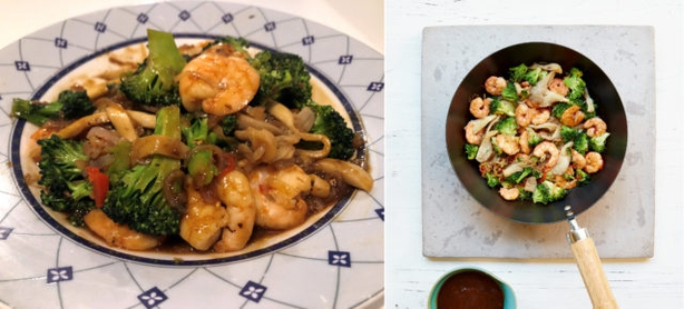 Right, king prawn and broccoli stir-fry from Mary Berry Quick Cooking; left, Lauren's version (Lauren Taylor/Georgia Glynn Smith/PA)