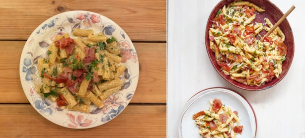 Right, quick pimento penne from Mary Berry Quick Cooking; left, Sam Priddy's version (Sam Priddy/Georgia Glynn Smith/PA)