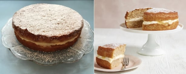 Right, apple and lemon cake from Mary Berry Quick Cooking; left, Prudence Wade's version (Prudence Wade/Georgia Glynn Smith/PA)