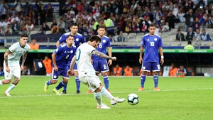 Lionel Messi scores from the penalty spot