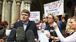 Andrew Smith, spokesperson for Campaign Against Arms Trade, speaks to the media outside the Royal Courts of Justice, London, after they won a landmark legal challenge