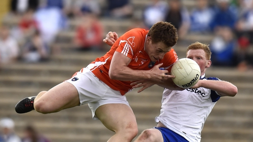 Armagh's Charlie Vernon and Monaghan's Paudie McKenna from the 2014 Ulster semi-final replay