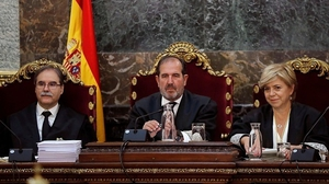 Spain's Supreme Court judges Andres Palomo (L), Andres Martinez Arrieta (C) and Ana Ferrer (R)