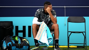 Kyrgios launched an expletive-laden rant at umpire Fergus Murphy after missing a set point against Carballes Baena, claiming the Spaniard had double-faulted