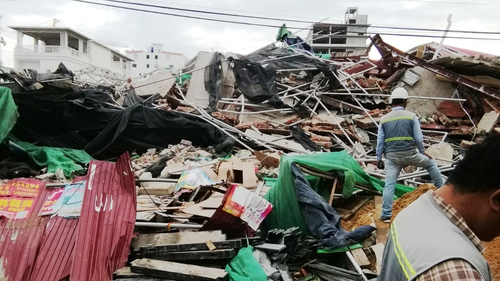 The seven-storey building in the beach town of Sihanoukvillecollapsed with workers inside