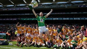 Goalkeeper Declan Molloy celebrates Leitrim's Lory Meagher Cup win with his team-mates